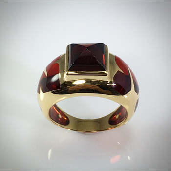 Lady's Garnet and Glass Dress Ring