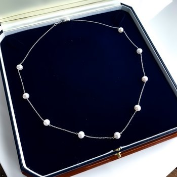 White Gold Pearl Station Necklace