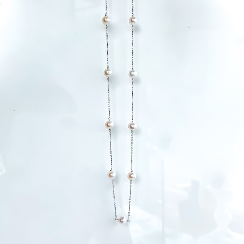 HJ Pearl Collection White Gold Pearl Station Necklace