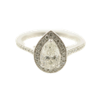 HJ Collection 0.75CT Pear Shaped Side-Stone Halo Engagement Ring
