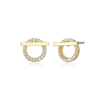 Gold Plated Bar & Circle Stud Earrings
