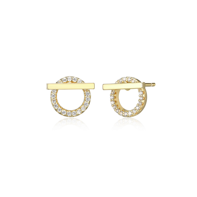 Reign Gold Plated Bar & Circle Stud Earrings