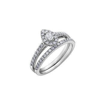 Pear Shaped Side-Stone Halo Engagement Ring