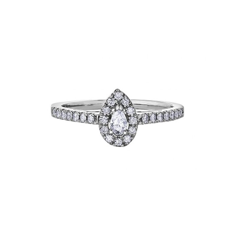 Corona Pear Shaped Side-Stone Halo Engagement Ring