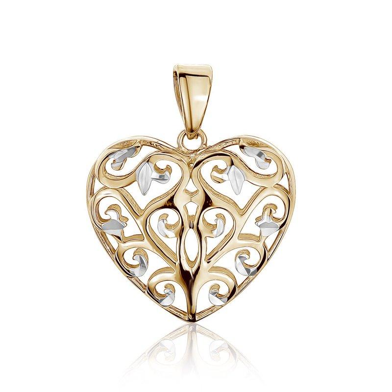 Tecimer & Johns Tri-Tone Gold Filigree Heart Pendant