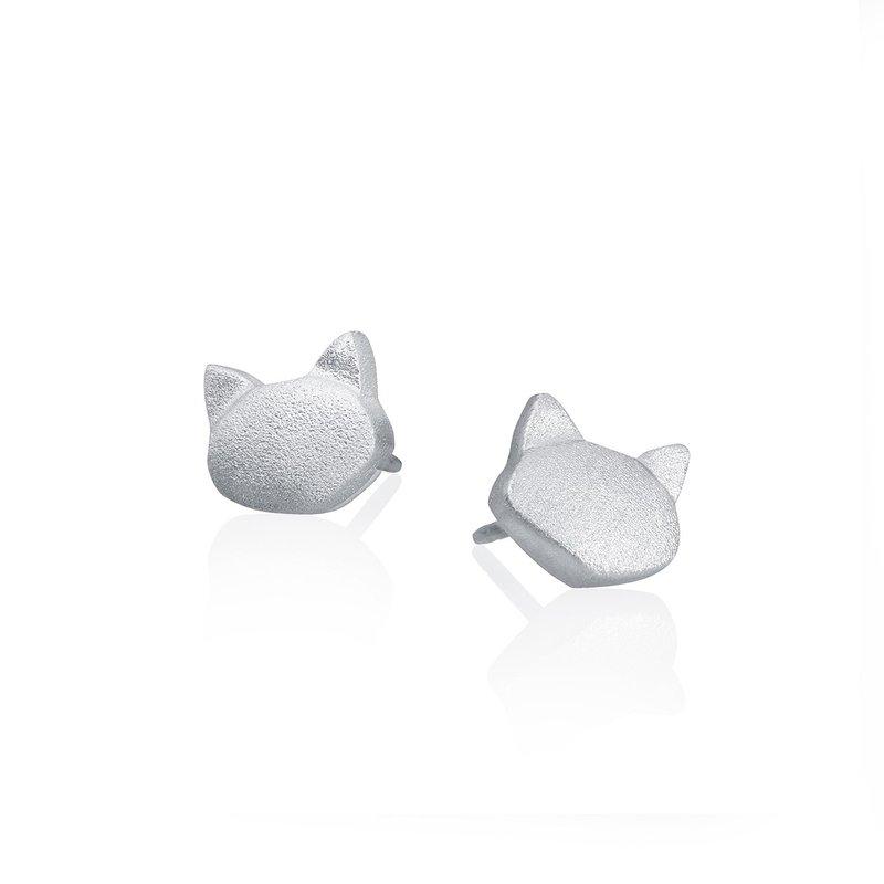 "Amos Pewter ""Meow"" Stud Earrings"