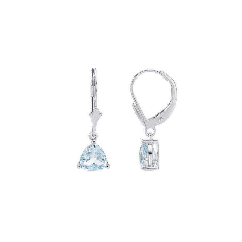Karat Imports White Gold Aquamarine Drop Earrings