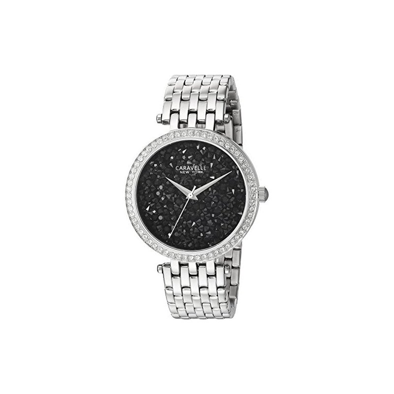 Caravelle Black Crystal Watch