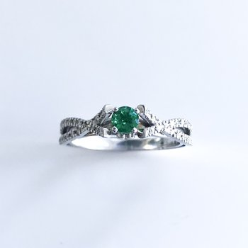 Custom Emerald & Diamond Ring