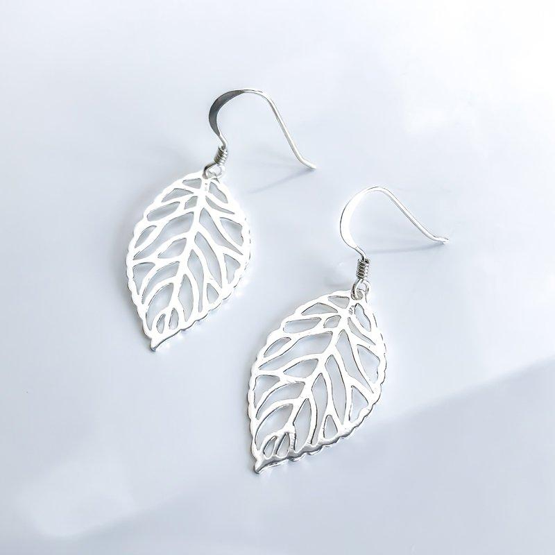 925 Solutions Sterling Silver Leaf Drop Earrings