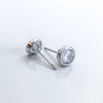 Bezel Set Cubic Zirconia Stud Earrings (7.5mm)