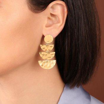 Graduated Half-Moon Drop Earrings