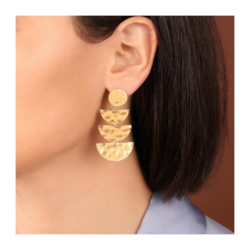 Etrusca Gioielli Graduated Half-Moon Drop Earrings