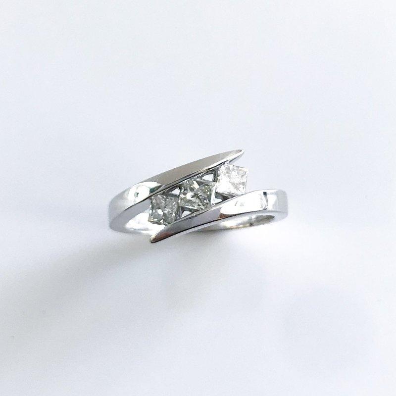Corona Princess Cut Three-Stone Diamond Ring