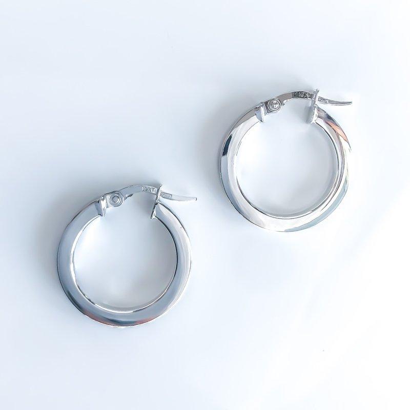 Tecimer & Johns White Gold Hoop Earrings (20mm)