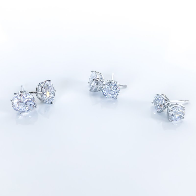 925 Solutions Round Cubic Zirconia Stud Earrings (3mm - 8mm)