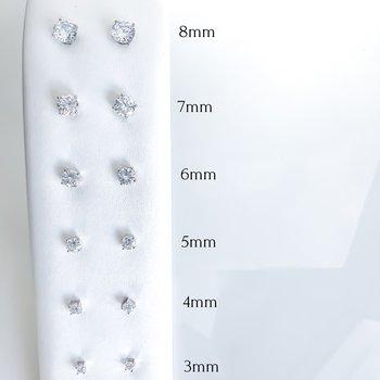 Round Cubic Zirconia Stud Earrings (3mm - 8mm)
