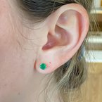 Corona Yellow Gold Emerald Stud Earrings
