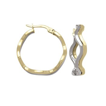 Two-Tone Wave Hoop Earrings