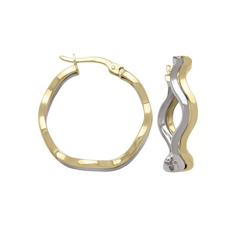 Tecimer & Johns Two-Tone Wave Hoop Earrings