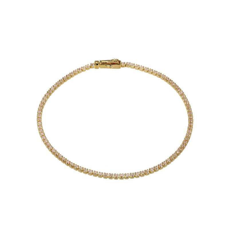 Reign Yellow Gold Plated Tennis Bracelet