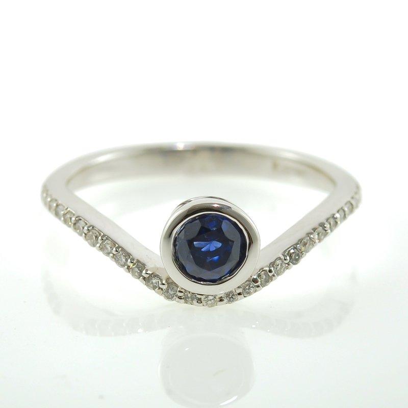 HJ Gemstone Collection Bezel Set Sapphire & Diamond Ring