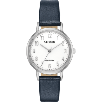 Eco-Drive Watch Navy Blue Leather