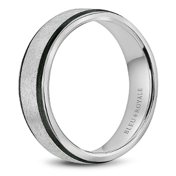 Black Enamel & White Gold Wedding Band