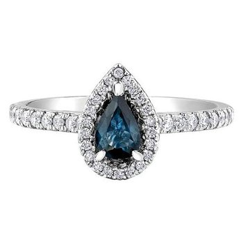 Pear Shaped Sapphire & Diamond Halo Ring