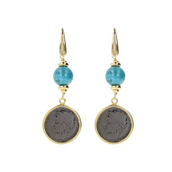 Turquoise & Coin Drop Earrings