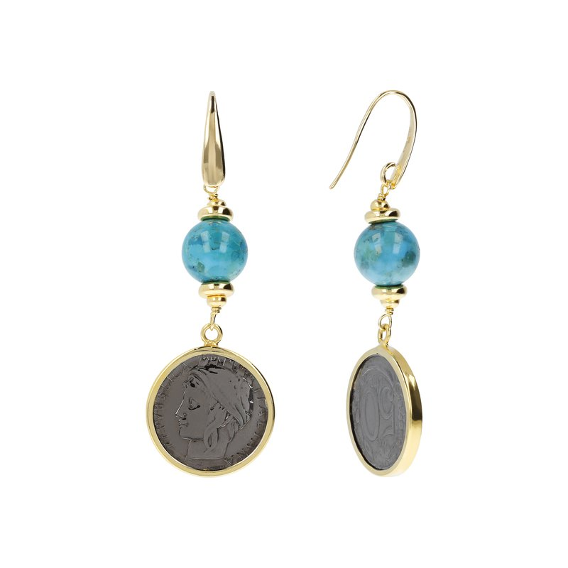 Etrusca Gioielli Turquoise & Coin Drop Earrings