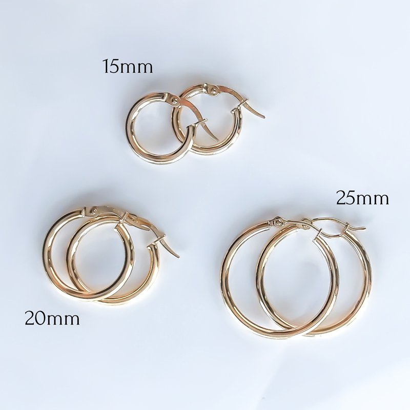 Tecimer & Johns Yellow Gold Hoop Earrings (25mm)