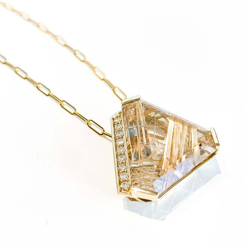 Corona Custom Tourmalinated Quartz & Canadian Maple Leaf Diamond Necklace