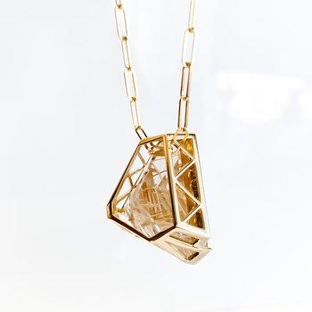 Custom Tourmalinated Quartz & Canadian Maple Leaf Diamond Necklace