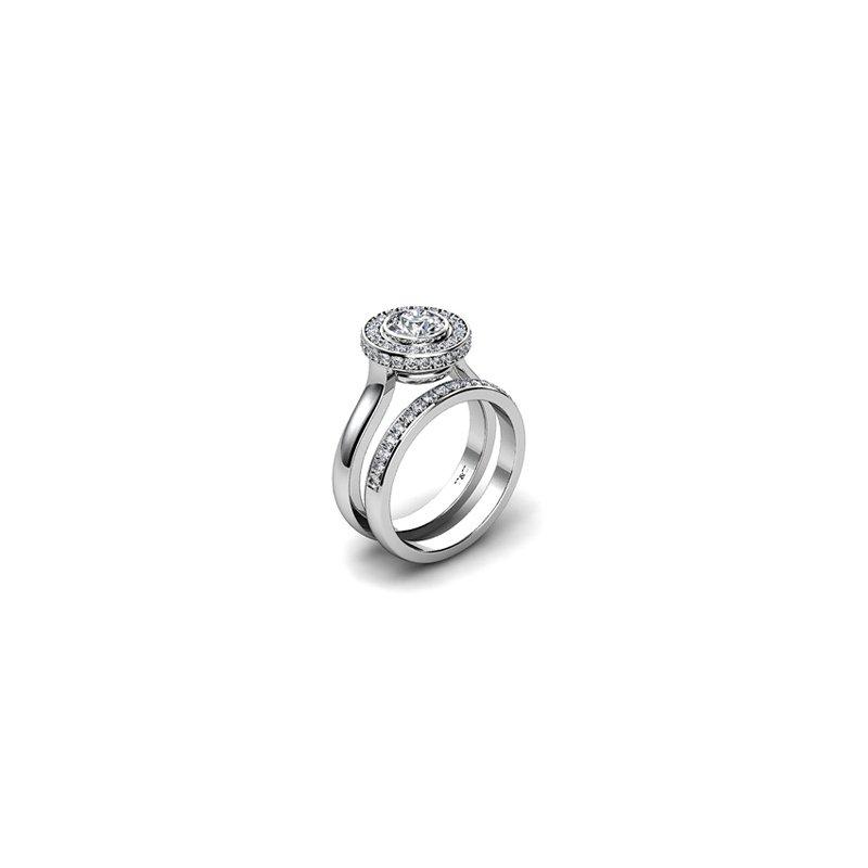 T & T Jewellers Bezel Set Halo Engagement Ring