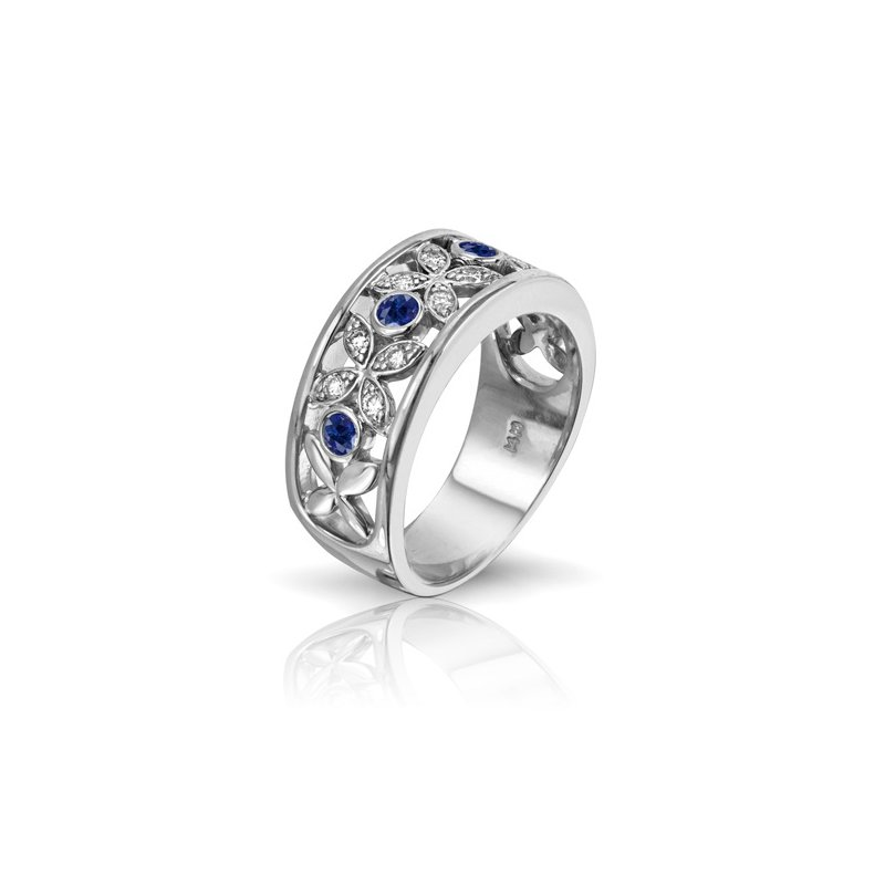 Max Strauss Designer Series Diamond & Sapphire Band