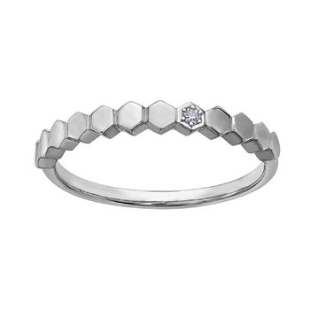 White Gold Honeycomb Stackable Ring
