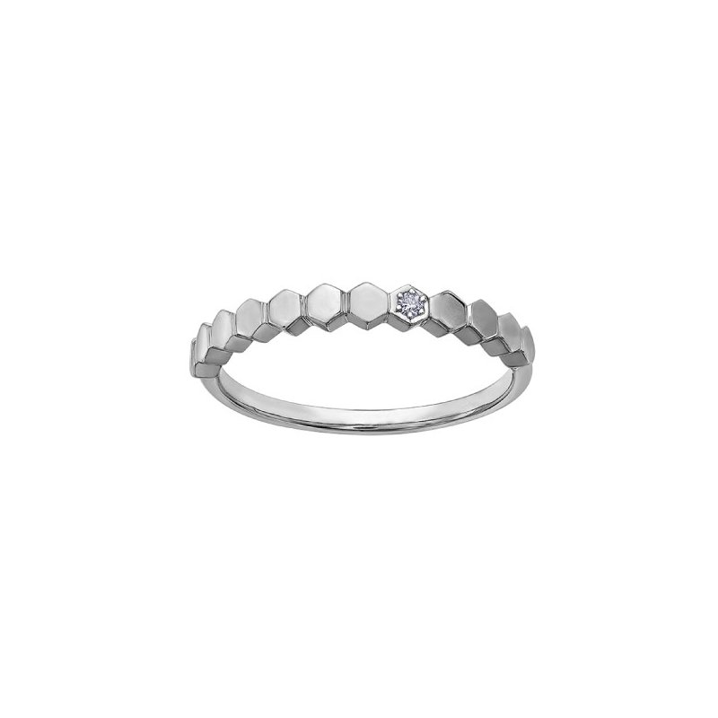 Corona White Gold Honeycomb Stackable Ring