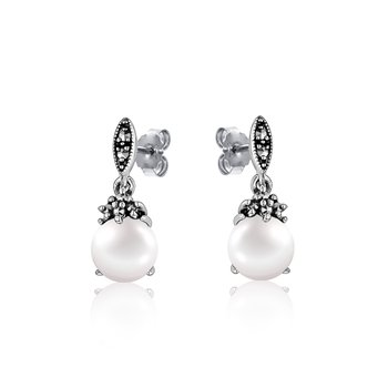 Vintage Pearl & Marcasite Earrings
