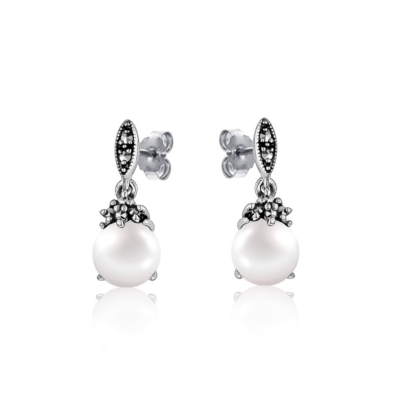 Larus Vintage Pearl & Marcasite Earrings