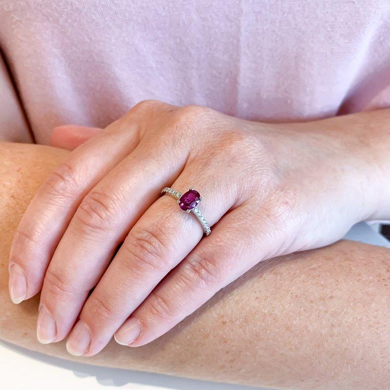HJ Gemstone Collection 1.01CT Custom Ruby & Diamond Ring