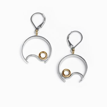 Two-Tone Contentment Drop Earrings