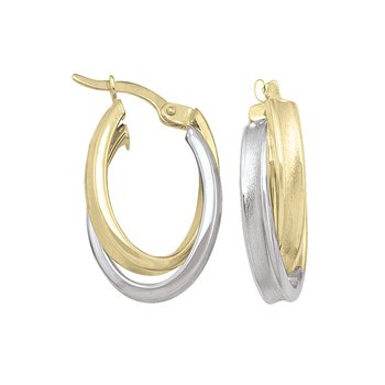 Two-Tone Satin Hoop Earrings