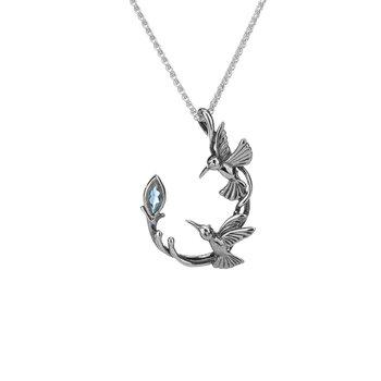 Hummingbird Necklace (Blue Topaz)