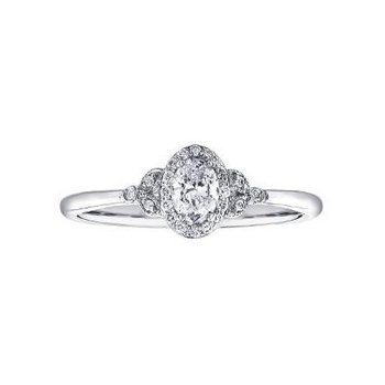 Canadian Diamond Oval Halo Engagement Ring