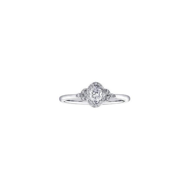 Corona Canadian Diamond Oval Halo Engagement Ring
