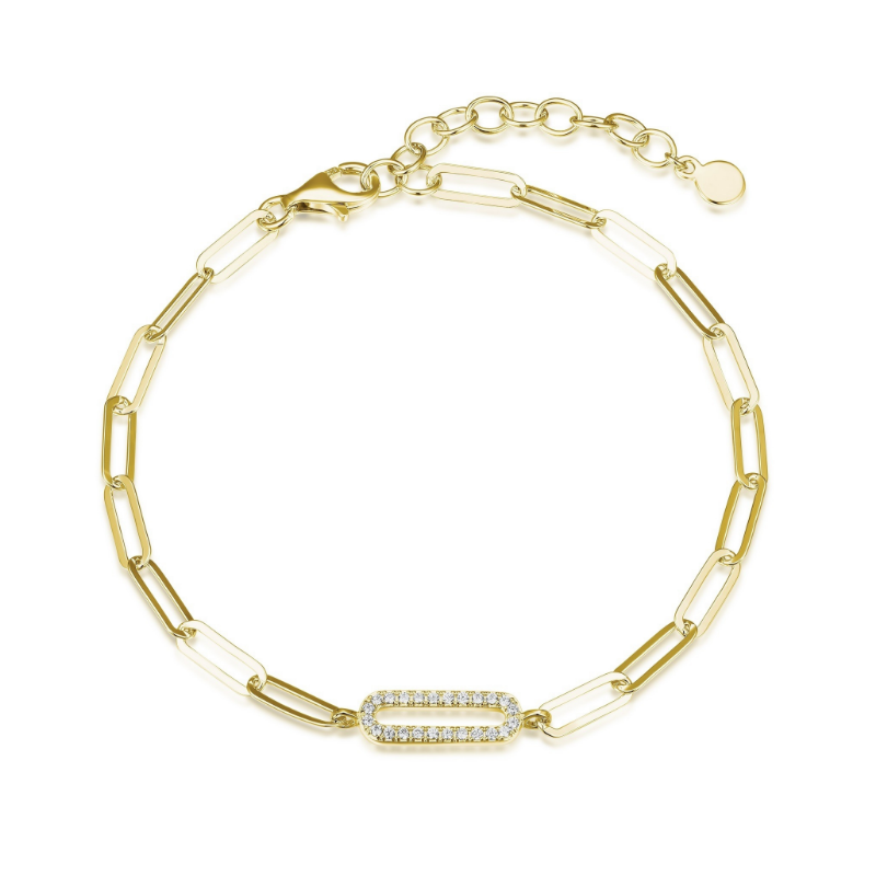 Reign Gold Plated Paperclip Bracelet