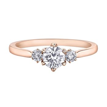 Canadian Diamond Three Stone Engagement Ring