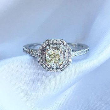 0.52CT Cushion Cut Canadian Yellow Diamond Double Halo Engagement Ring