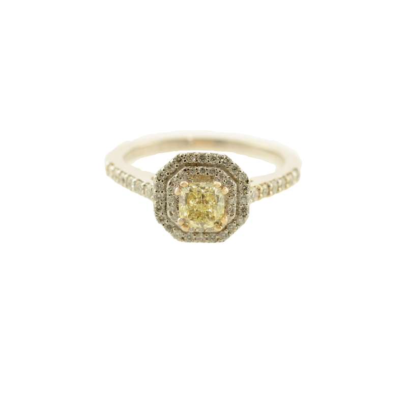 HJ Diamond Collection 0.52CT Cushion Cut Canadian Yellow Diamond Double Halo Engagement Ring